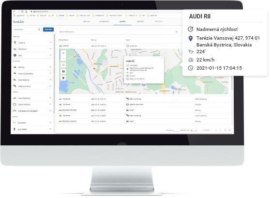 GPS lokátor Sledovanie polohy Monitoring vozidiel