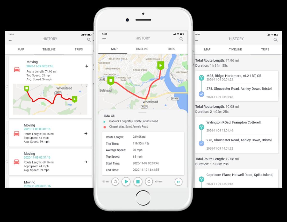 GPS lokátor Mobilná história jázd Moja poloha
